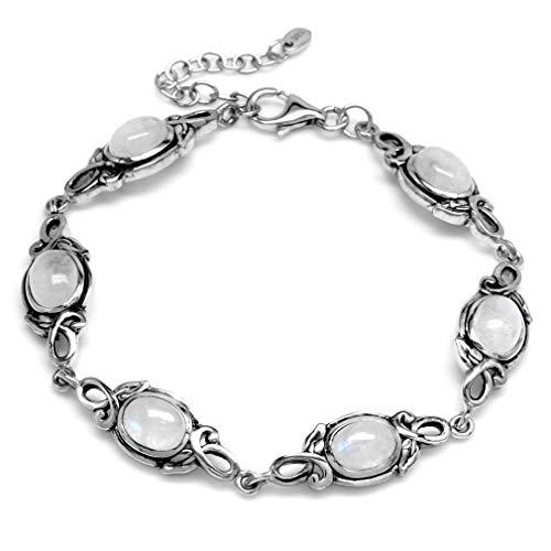 Silvershake 8x6mm Oval Natural Moonstone 925 Sterling Silver Leaf Vintage Inspired 7 to 8.5 Inch Adjustable Bracelet