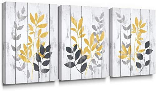 Cuadro de lienzo con diseño de hojas de flores de color gris y mostaza, hoja de olivo antigua, impresión artística para decoración del hogar, 50 x 70 cm, 3 NoFrame