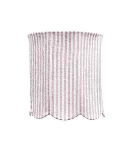 Jubilee Collection 3700 Scallop Drum Shade, Medium, Pink/White Stripe by
