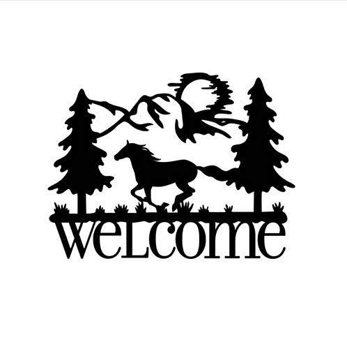 Running Horse Welcome Muursticker Voordeur Decal Vinyl Paard Muurposter Verwijderbaar Welkom Teken Muur Venster Muren 57x43cm