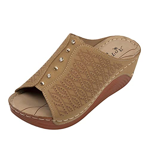 SEEROL Sandalias de cuña de cuero para mujer sandalias de punta abierta zapatos de plataforma verano