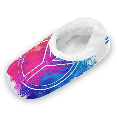 TropicalLife FELIZM - Pantuflas para casa, diseño de señal de paz, para el hogar, cálidas, antideslizantes, para interiores y exteriores, para hombres y mujeres, color, talla X-Large