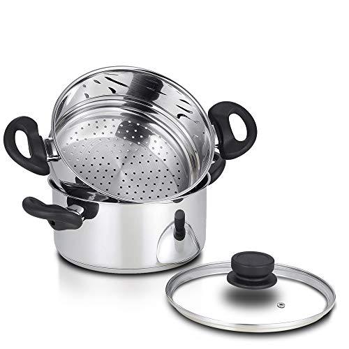 Nevlers Casserole vapeur en acier inoxydable 3 litres avec insert de 2 litres et couvercle ventilé en verre – Ensemble de 3 pièces – Sûr et durable – Excellent ajout à toutes les cuisines