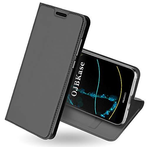 OJBKase Huawei Y5 2018/Honor 7S Hülle, Premium Slim PU Leder Handy Schutzhülle [Standfunktion] Hülle/Brieftasche/Ledertasche Tasche Lederhülle Handyhülle für Huawei Y5 2018 / Honor 7S (Schwarzgrau)