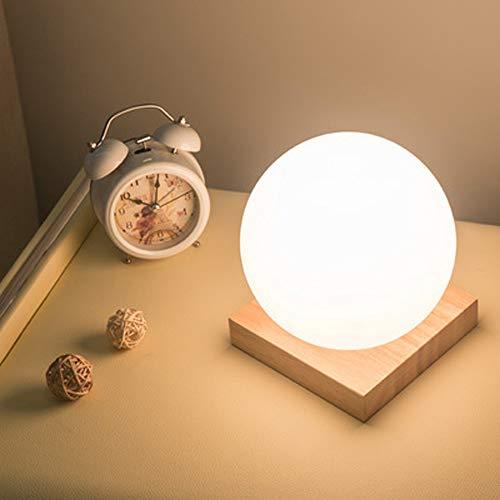 Tafellamp voor slaapkamer, bedlampje, eenvoudig, romantisch, creatief, melk, wit, bol, vierkant, van massief hout