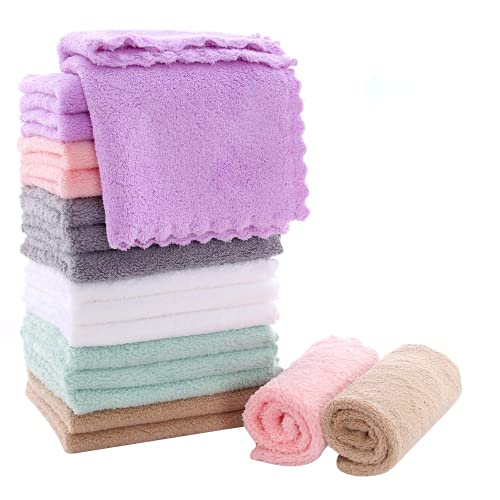 18 Pack Kitchen Dishcloths - 10 × 10 Inch Reusable Dish Towels, Premium Dish Cloths, Super Absorbent Coral Fleece Cleaning Cloths, Nonstick Oil Washable Fast Drying (Multicolor)