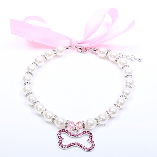 SKS PET TM Dog Cat Pearls Necklace Collar Bling Accessories Ribbon Bone Charm Pendant Pet Puppy Jewelry for Female Puppy Chihuahua Yorkie Adjustable Handmade (L, Pink)