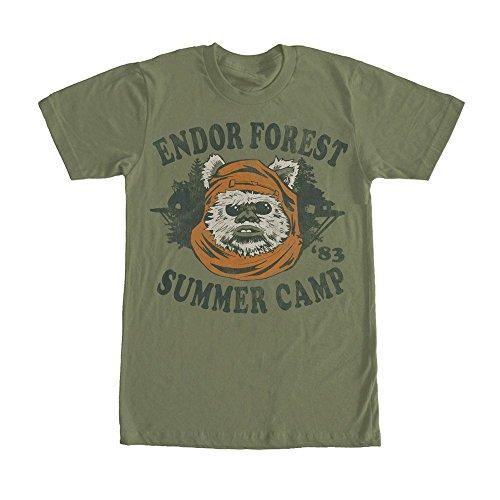 Star Wars Ewok Summer Camp Mens Graphic T Shirt - Dark Green (Medium)