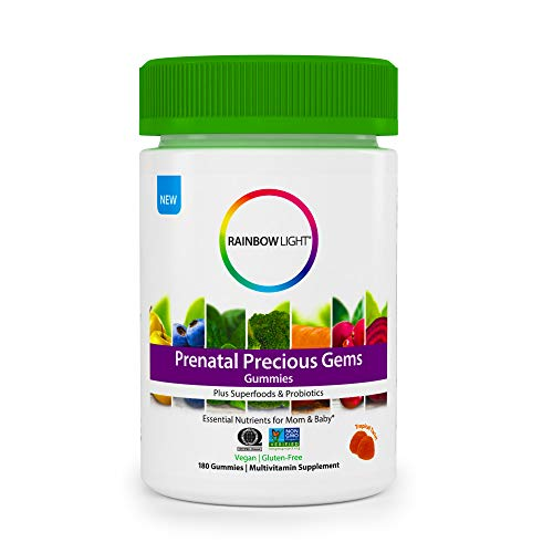 Rainbow Light Prenatal Precious Gems Multivitamin Gummies, 180 Tablets (Package May Vary)