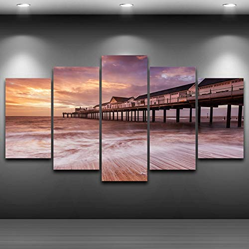 GHTAWXJ Hd gedrukt schilderij decoratie poster lijst 5 panelen zee huisjes zonsondergang aanzicht muurkunst foto's Home