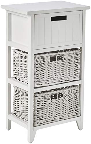 Marca Amazon - Movian - Mueble de almacenamiento con cajones de mimbre, 40 x 28 x 71 cm, blanco