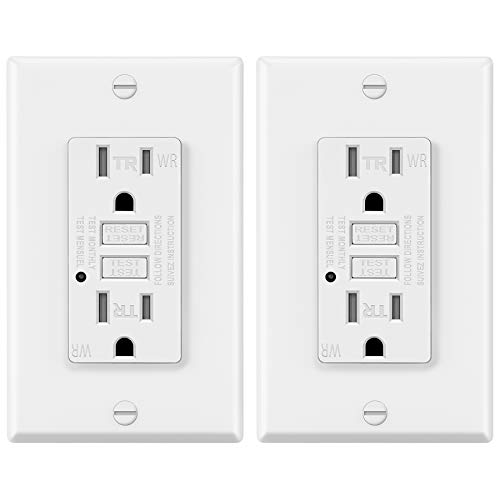 2 Pack - ELECTECK Weather Resistant GFCI Outlet, Outdoor GFI with LED Indicator, 15-Amp Tamper Resistant Receptacle, Decorator Wallplate Included, ETL Certified, White