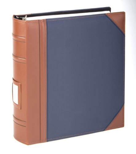 """Executive Binder, English Leather 2 Tone with Stitching and Ribbed Spine, Heavy Duty 1 1/2"""" Inch 3 D-ring with Buster, Holds 225 8.5""""x 11"""" Sheets With Memo Tag On Spine Blue"""