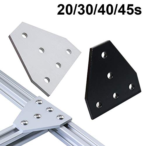 QFDM Universal bracket Strong Corner Angle Bracket Connection Joint Strip Board for V-slot Aluminum Profile 2020 3030 4040 4545 with 5 holes Beautiful and practical (Color : 20s 10pcs Silver)