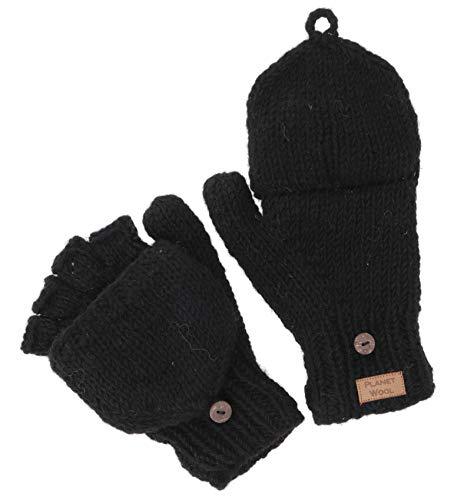 GURU SHOP Handschuhe, Handgestrickte Klapphandschuhe, Wollhandschuhe Uni, Herren/Damen, Schwarz, Wolle, Size:One Size, Handschuhe Alternative Bekleidung