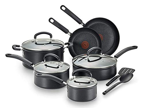 T-fal C561SC Titanium Advanced Nonstick Thermo-Spot Heat Indicator Dishwasher Safe Cookware Set, 12-Piece, Black (Pack of 1)