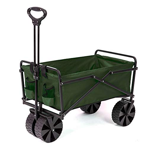 Seina Collapsible Steel Frame Folding Utility Garden Wagon Outdoor Cart, Green
