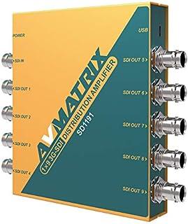 Avmatrix SD1191 SDI Video Splitter 3G/HD/3G-SDI has 1 Input 9 Output Distribution Amplifier Support 1080P for Projector Monitor