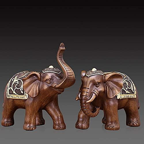 WQQLQX Statue EIN Paar Elefant Statue Liebhaber Harz Skulptur Handwerk Ornamente Tierfiguren Dekoration Zubehör Kunst Hochzeitsgeschenke Skulpturen (Color : HEI Tan Mu)