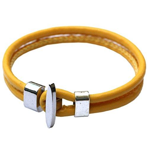 COMVIP 20cm Länge Pu Leder Damen Herren Unisex Vintage Armreif Armbänder Armkette Wickelarmbänder Gelb