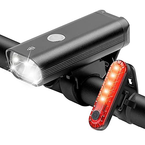 Juego de luces LED para bicicleta, recargables por USB, con 3 modos de luz, luz delantera y trasera, impermeable IPX6, homologadas por StVZO