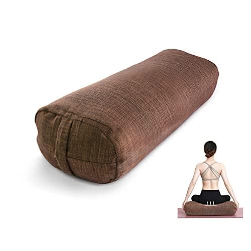 Almohada para esterilla de yoga: cómoda almohada de meditación de concha de trigo sarraceno / algodón de grano, cubierta con una funda de almohada de lino y algodón lavable a máquina con asa (27,5 ')