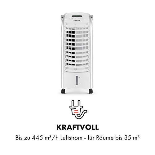 Klarstein Maxfresh WH Luftkühler-Ventilator-Kombination mit drei Leistungsstufen • niedriger Energieverbrauch • Bodenrollen • Lammellen-Schwenkfunktion • inkl. Fernbedienung und zwei Eis-Packs • weiß - 5