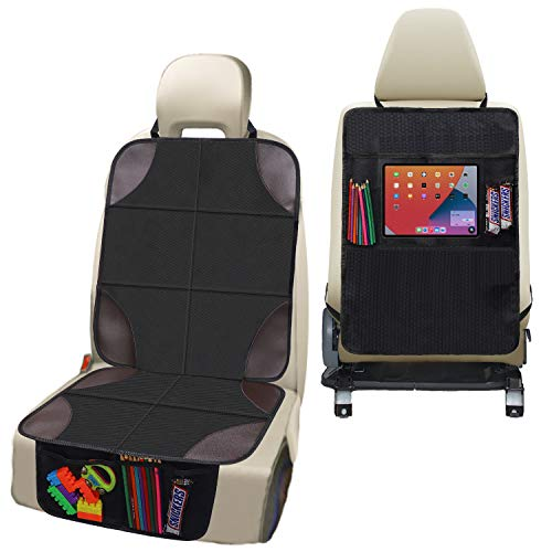 Car Seat Protector CUSMMI Seat Covers & Backseat Kick Mat with Storage Pockets Waterproof Durable 600D Fabric Child Baby Seat Protector Backseat Car Organizer for SUV, Sedan, Truck,Most Cars