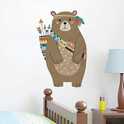 Nette Tribal Bär Wandaufkleber Abnehmbare Pvc Cartoon Bär Aufkleber Diy Kindergarten Wandkunst Für Baby Kinderzimmer Vintage Wohnkultur