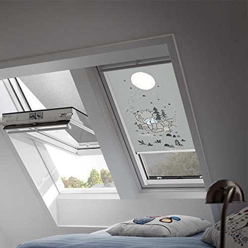 VELUX Original Verdunkelungsrollo für Dachfenster mit weißen Seitenschienen, PK06, Winnies Pusteblume/DKL PK06 4664SWL