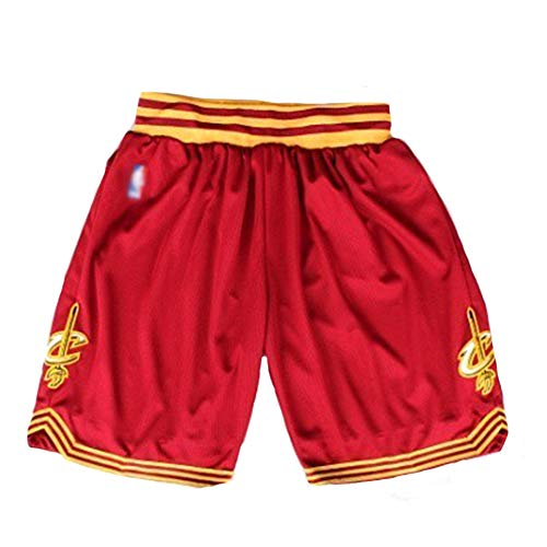 Cleveland Cavaliers Basketball-Shorts, Herren-Stickerei Basketball-Fan-Shorts, professioneller Stretch-Stoff lose atmungsaktiv Wiederholbare Reinigung Freunde-red-M