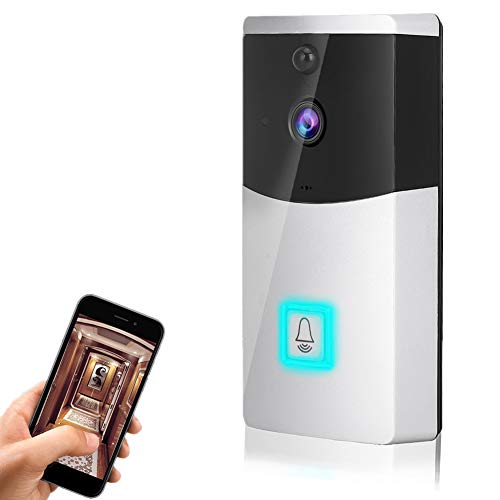 WiFi Timbre de Video Inteligente para el hogar, Detección de Movimiento PIR, Visión Nocturna, Soporta Control Remoto de teléfonos móviles (Compatible con iOS y Android)