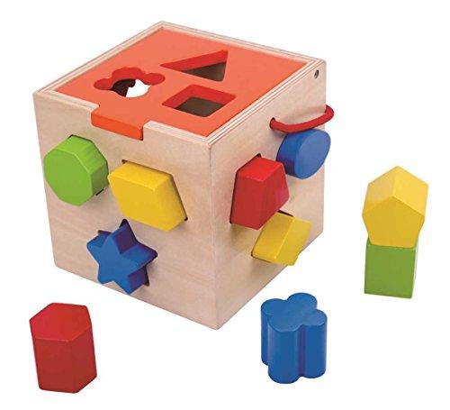 Tooky Toy - Cube motorique en bois - 12 formes - jouets pour enfants à partir de 3 ans avec aquarelle - environ 14 x 14 x 14 cm