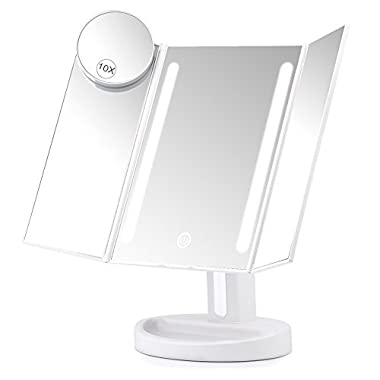 Herwiss Lighted Makeup Mirror, Portable Bathroom Vanity Mirror with 10x Magnifying for Beauty Cosmetic Shaving, Dual Power Supply 180 Degree Rotation Trifold Makeup Mirror