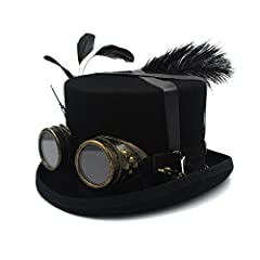 MUJUN Unisex Punk Men's Women's Festival Costume Set Black Hat with Goggles, Steampunk Top Hat, Victorian Wedding Top Hat, Burning Men Cosplay Nutcracker Festival Hat Cosplay Hats #2