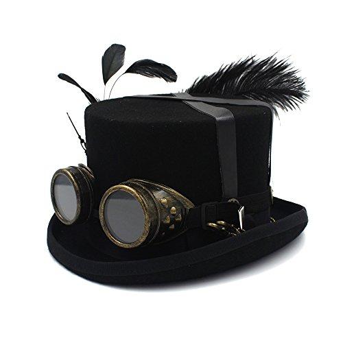 Gorra de invierno y sombrero Conjunto de trajes de festival Hombres Mujeres Sombrero negro con gafas Steampunk Sombrero de copa Victoriano Tophat Burning Hombres Cosplay Cascanueces Festival Sombrero