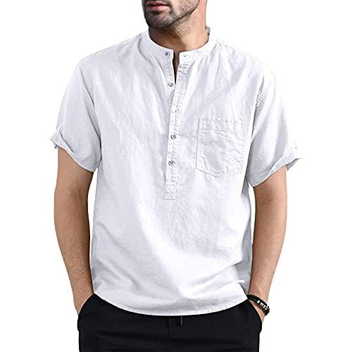 Camicia da Uomo Manica Corta Camicia Uomo Slim Fit in Cotone Lino Magliette Estivo Uomo Elegante Casual (M-3XL) (Bianco, XXL)