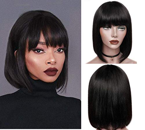 IFLY Perücke Bob with Bangs Brazilian Straight Echthaar Perücke Schwarz Human Hair Bob Wigs 150% Density None Lace Front Wigs Natural Color 12 Zoll