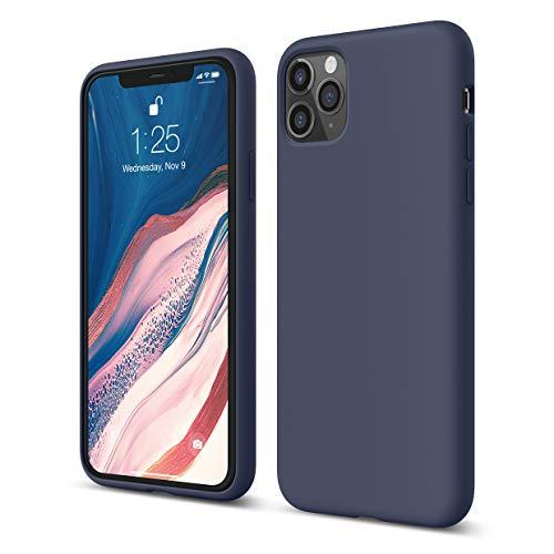 """elago Coque Silicone Compatible avec Apple iPhone 11 Pro Max 6.5""""- Silicone Liquide, Doublure en Microfibre Douce, Raised Lip pour Écran & Caméra, Protection Complète du Corps, Flexible (Jean Indigo)"""