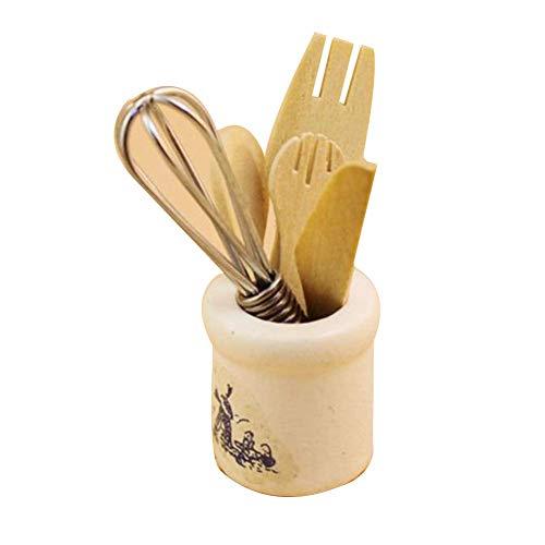 Ruby569y casa de muñecas accesorios para bricolaje, casa de muñecas, decoración en miniatura, cuchillo de madera, tenedor de metal, juego de frascos de batidor de cocina, juguete