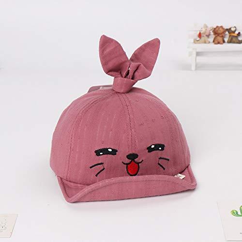 Sombrero para niños Forma de Dibujos Animados Suave a lo Largo de la Gorra Sombrero para bebé con Capucha para niños y niñas Fuera de Visera Rojo Frijol 46-50cm Adecuado para 6-36 Meses