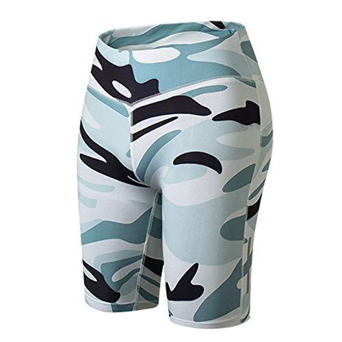 Reflexstreifen Yoga-Shorts Damen Nachtrennen Fitnesshosen Training Sport Schnelltrocknend 1/2 Leggings GreatestPAK,L (Taille:68-80cm),Weiß