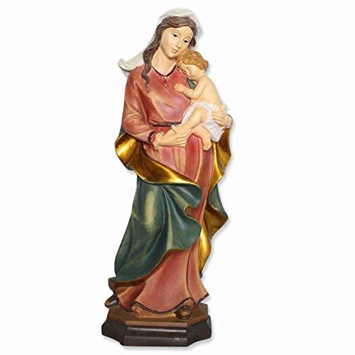kruzifix24 Devotionalien Mutter Gottes Statue - Madonna mit Kind/Jesus Kind zum Stellen Kunststein 40 cm - Heiligen Figur