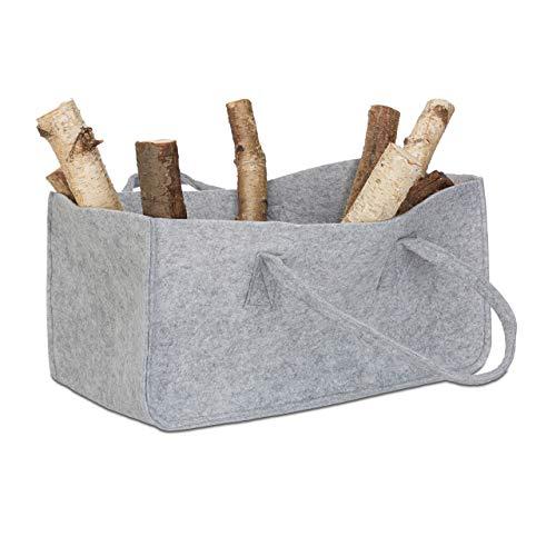 Relaxdays Kaminholztasche aus Filz, tragbarer Feuerholzkorb, faltbarer Zeitungshalter HxBxT: 25 x 25 x 50 cm, grau