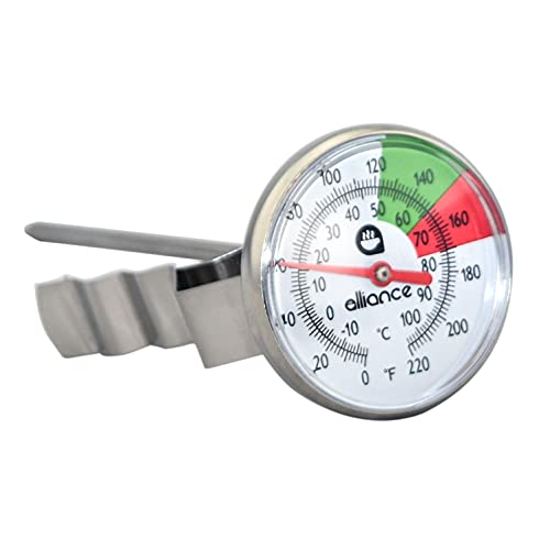 ALLIANCE BREW GEAR Milk Frothing Thermometer with Clip, White, One Size