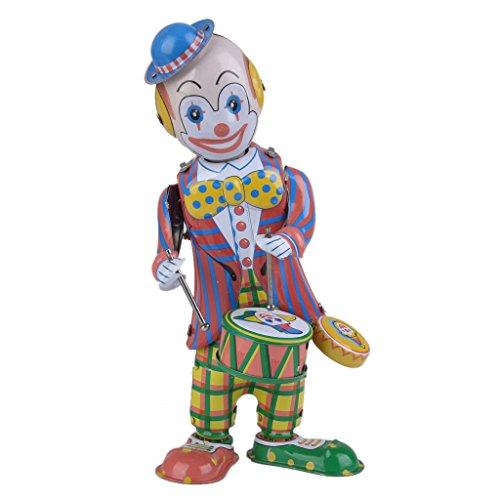 sharprepublic Wind Up Clown Drummer Beating Drums Giocattolo di Latta Regalo da Collezione Mobile Bomboniere per Bambini