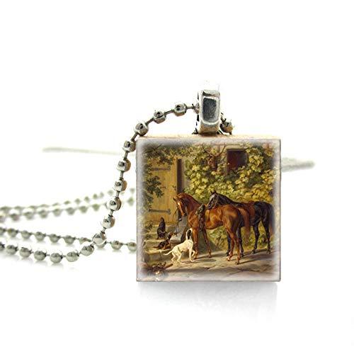 Neuankömmling Klassischer Stil Holz Scrabble Fliesen Laufen Pferd Kunst Gemälde Neuartige Kugelkette Halskette Schmuck