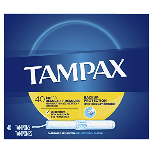 Tampax Cardboard Applicator Tampons Regular Unscented 40 Count