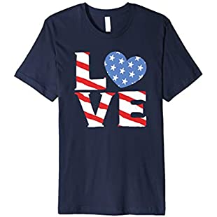 Love - American Flag - 4th of July Clothing for Kids:Porcelanatoliquido3d