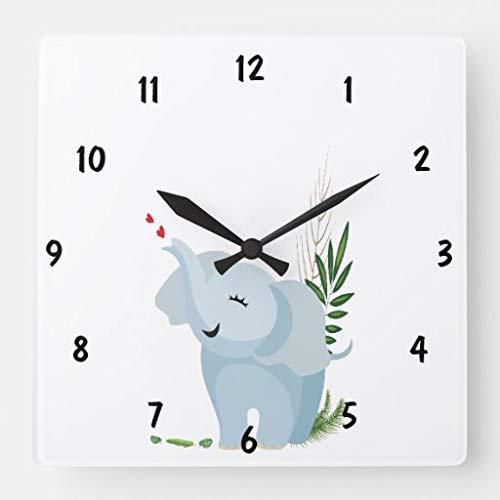 Kysd43Mill Bonito bebé elefante grande números cuadrados de madera relojes de pared decorativos para sala de estar, habitación de los niños, niñas y niños, 30,5 cm regalo de inauguración de la casa